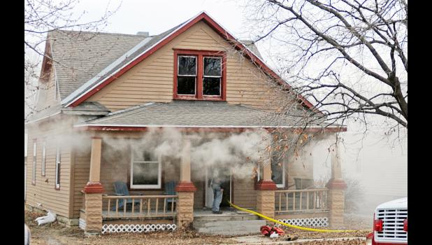 Smoke billows from a house fire in Falls City on Jan. 20. Photo by Nikki McKim of the Falls City Journal.