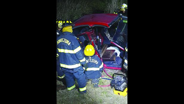 Montezuma firefighters extrication gear to raise the roof a vehicle used in extrication training near Montezuma on Wednesday, Nov. 16 near Montezuma. Photo courtesy of Mindy Icenbice, Montezuma Volunteer Fire Department.